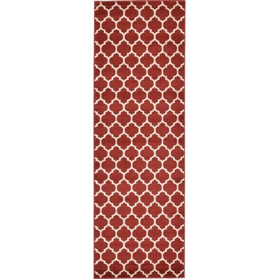 Emjay Rust Red Area Rug Rug Size: Runner 27 x 8