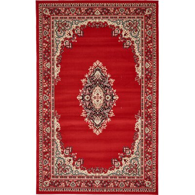 Charlie Red Area Rug Rug Size: Rectangle 5 x 8