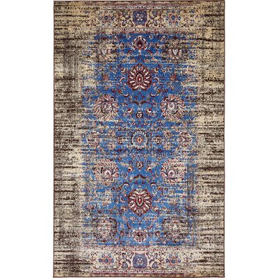 Florence Blue/Ivory Area Rug Rug Size: Rectangle 5 x 8