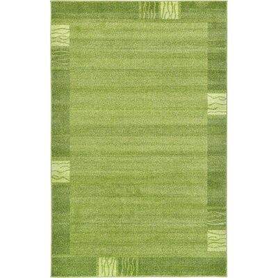 Christi Green Color Bordered Area Rug Rug Size: Round 8