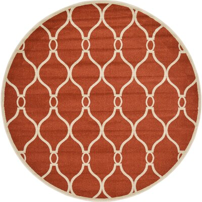 Molly Terracotta Area Rug Rug Size: Round 8