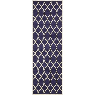 Molly Navy Blue Area Rug Rug Size: Runner 27 x 8