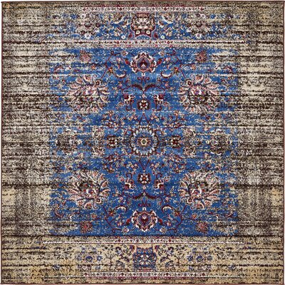 Florence Blue/Ivory Area Rug Rug Size: Square 6