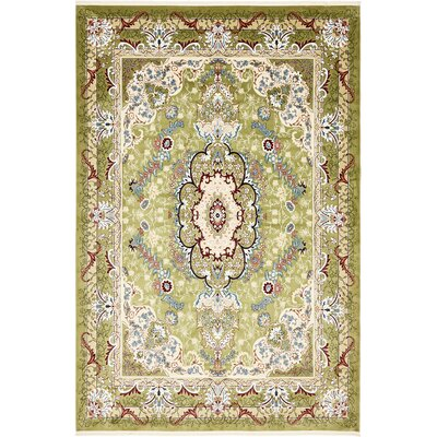 Courtright Green/Ivory Area Rug Rug Size: Rectangle 8 x 10