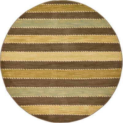 Langham Brown Area Rug Rug Size: Round 6