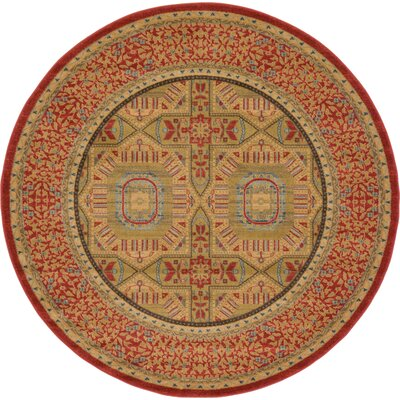 Laurelwood Red Area Rug Rug Size: Round 6