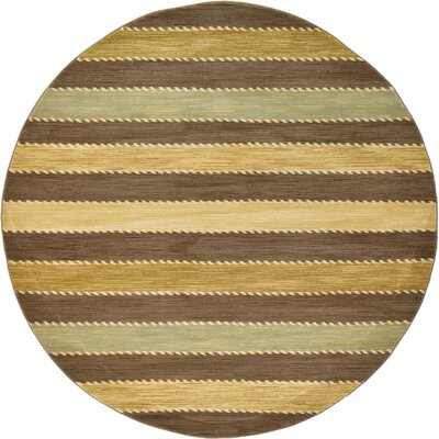 Langham Brown Area Rug Rug Size: Round 8