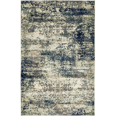 Jani Beige/Navy Blue Area Rug Rug Size: Rectangle 5 x 8