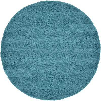 Lilah Teal Blue Area Rug Rug Size: Round 88