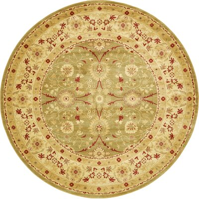 Sebou Light Green Area Rug Rug Size: Round 8