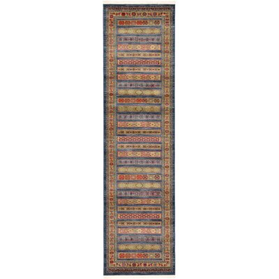 One-of-a-Kind Foret Noire Machine Woven Polypropylene Blue Area Rug Rug Size: Runner 27 x 10