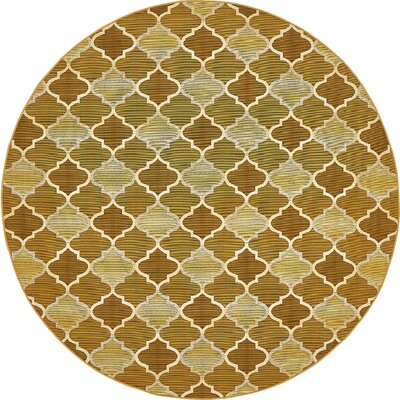 Alice Gold Indoor/Outdoor Area Rug Rug Size: Round 8
