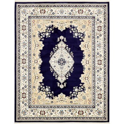 Courtright Navy Blue/Ivory Area Rug Rug Size: Rectangle 5 x 8