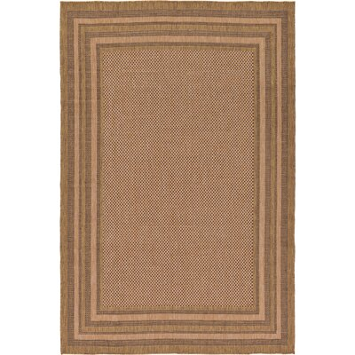 Rockwood Light Brown Outdoor Area Rug Rug Size: Round 6