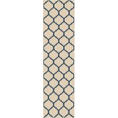 Moore Beige/Navy Area Rug Rug Size: Runner 27 x 10