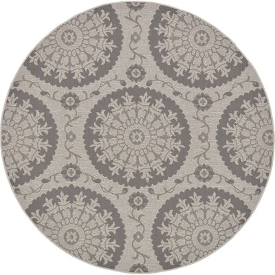 Forbes Gray Outdoor Area Rug Rug Size: Round 6