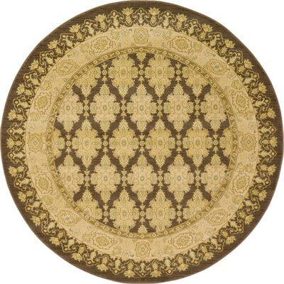 Fonciere Brown Area Rug Rug Size: Round 6