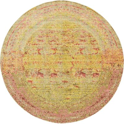 Danbury Yellow Area Rug Rug Size: Round 6