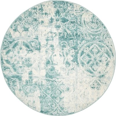 Jacobson Floral Blue Area Rug Rug Size: Round 4