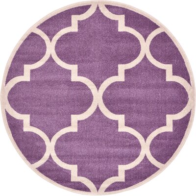 Moore Purple Area Rug Rug Size: Round 8