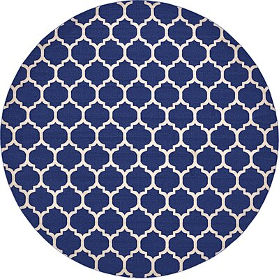 Coughlan Blue/Ivory Area Rug Rug Size: Round 33