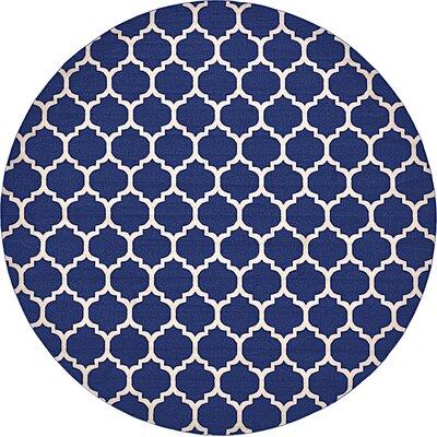 Coughlan Blue/Ivory Area Rug Rug Size: Round 10