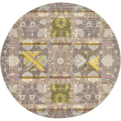 Rune Brown Area Rug Rug Size: Round 6