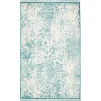 Jacobson Blue Area Rug Rug Size: 5 x 8