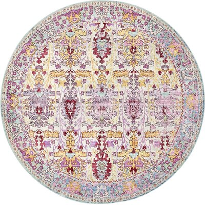 Center Burgundy Area Rug Rug Size: Round 8'