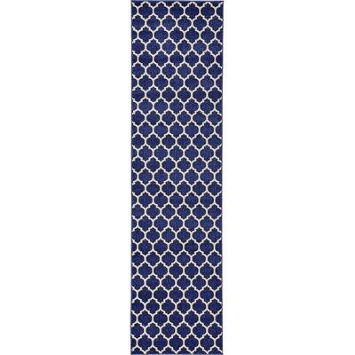 Coughlan Blue/Ivory Area Rug Rug Size: Runner 27 x 165