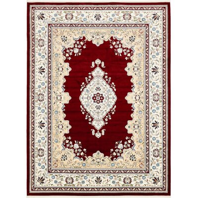 Courtright Burgundy/Tan Area Rug Rug Size: Rectangle 8 x 10