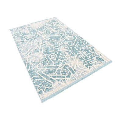 Sherrill Blue Geometric Area Rug Rug Size: Rectangle 4 x 6