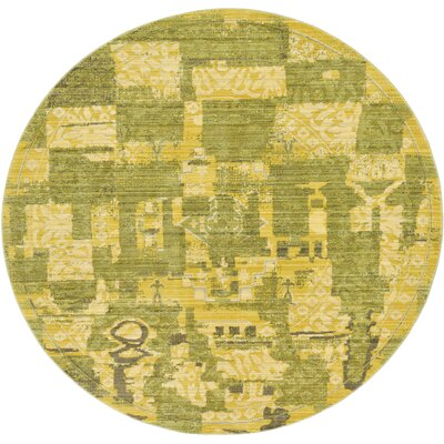 Rune Green Area Rug Rug Size: Round 6