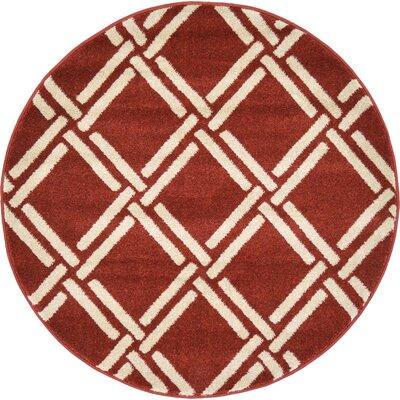 Seagate Dark Terracotta Area Rug Rug Size: Round 8