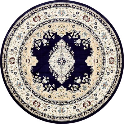 Courtright Navy Blue/Ivory Area Rug Rug Size: Round 10