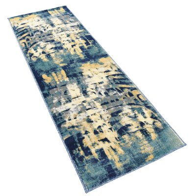 Jani Traditional Beige/Blue Abstract Area Rug Rug Size: Runner 2 x 6