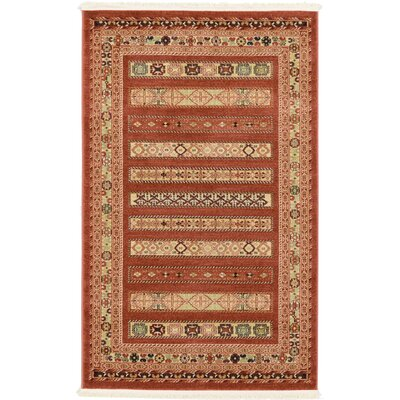 Foret Noire Rust Red Area Rug Rug Size: 33 x 53