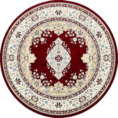 Courtright Burgundy/Tan Area Rug Rug Size: Round 10