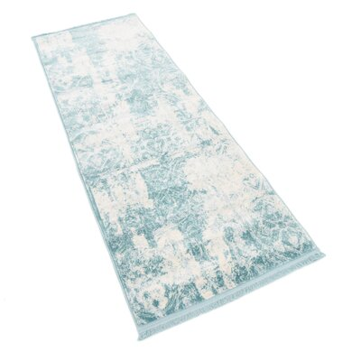 Jacobson Floral Blue Area Rug Rug Size: Runner 22 x 6