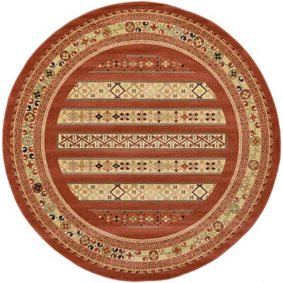 Foret Noire Rust Red Area Rug Rug Size: Round 8'