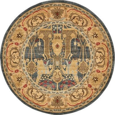 Lerma Gray/Brown Area Rug Rug Size: Round 8