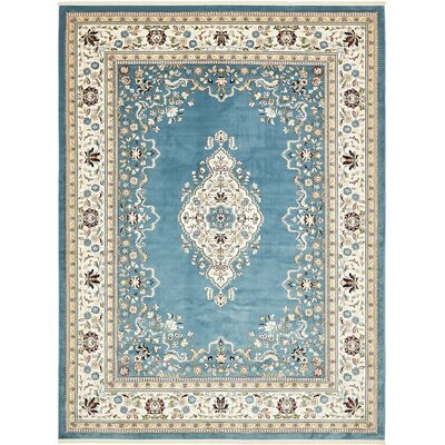 Courtright Blue/Tan Area Rug Rug Size: Rectangle 3 x 5