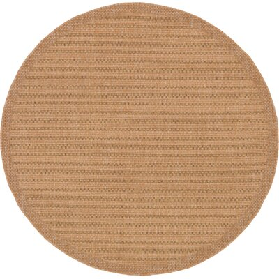 Chasew City Light Brown Indoor/Outdoor Area Rug Rug Size: Round 6