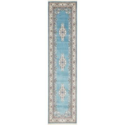 Courtright Blue/Tan Area Rug Rug Size: Runner 3' x 13'