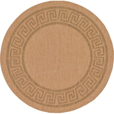 Kennebunk Light Brown Outdoor Area Rug Rug Size: Round 6