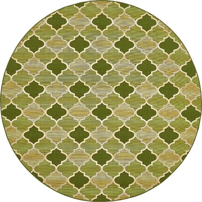 Alice Green Indoor/Outdoor Area Rug Rug Size: Round 8