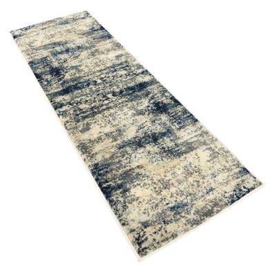Jani Beige/Navy Blue Area Rug Rug Size: Runner 2 x 6