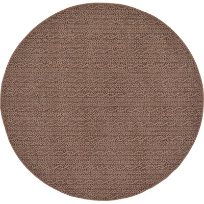 Robbinston Brown Outdoor Area Rug Rug Size: Round 6