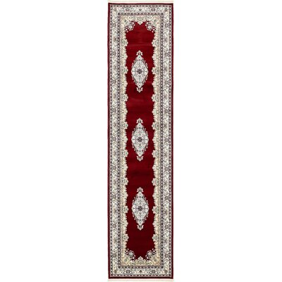 Courtright Burgundy/Tan Area Rug Rug Size: Runner 3' x 13'