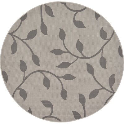 Forrest Gray Outdoor Area Rug Rug Size: Round 6